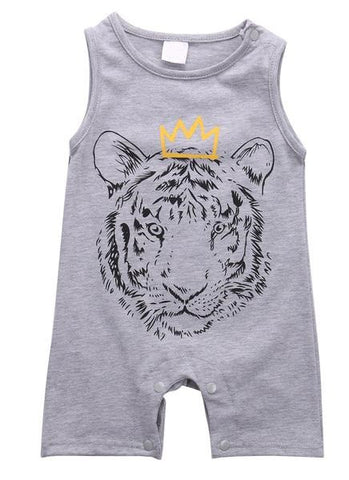 Sleeveless 'Tiger-King' Romper Jumpsuit