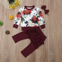 'Blossom' Shirt + Pants + Bow Set