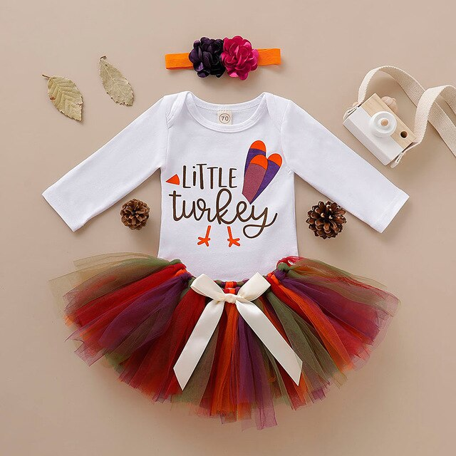 'Little Turkey' Tutu Romper Headband Set