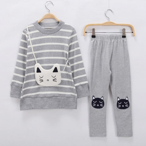 'Kitten' Striped Shirt + Pants Set