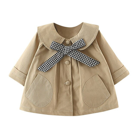 'Checker' Tied Bow Coat