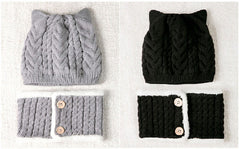 'Ears' Hat + Buttoned Scarf Set