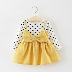 'Deb' Polka Dot Shirt + Big Bow Dress Set