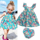 'Summer Bouquet' Dress + Diaper Cover Set