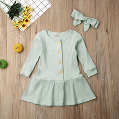 'Lynn' Buttoned Dress + Bow Set