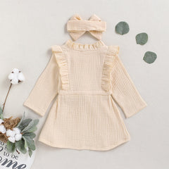 'Annabelle' Long Sleeve Ruffle Dress + Bow Set