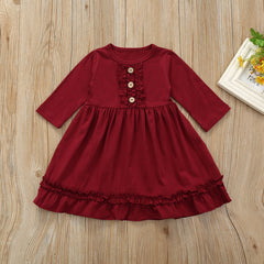 'Beth' Long Sleeve Ruffle Dress