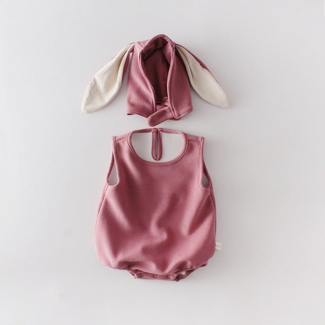 'Wabbit' Sleeveless Romper + Rabbit Cap Set