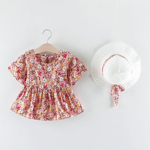 'Dahlia' Floral Dress + Hat Set