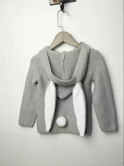 Knit Hooded Rabbit Ear & Tail Sweater