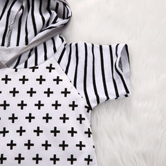 Plus and Stripes Hooded Short Sleeve Baby Romper