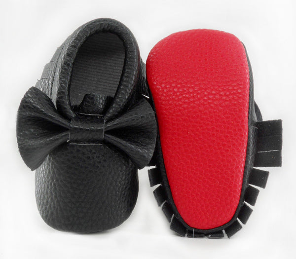 Red Sole Fringe Moccasin with Bow