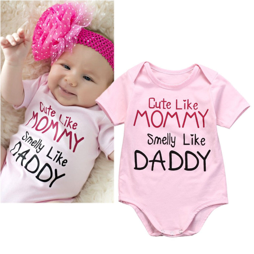 5492735184a Cute Like Mommy, Smelly Like Daddy' Onesie | The Milk Camp