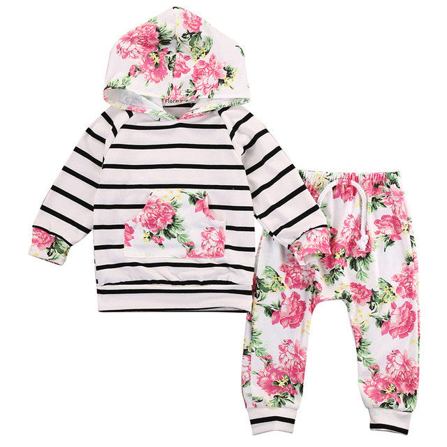 Floral and Stripes Harem and Hoody Set