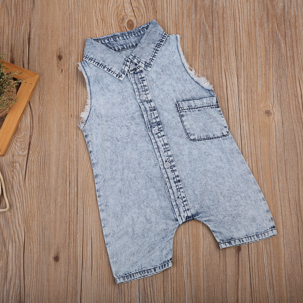 3908ad6eb The Sleeveless Denim Romper Jumpsuit [Unisex] | The Milk Camp