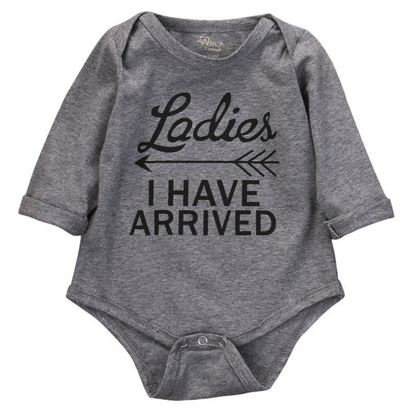 ca6d7798a 'Ladies I Have Arrived' Baby Boy Long Sleeve Onesie | The Milk Camp