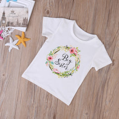 Little Sister / Big Sister - Floral Crown Matching Shirt & Onesie