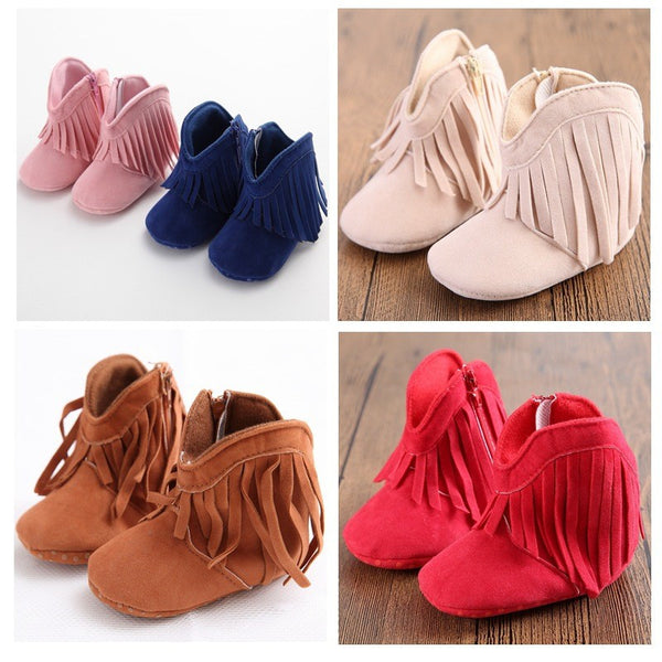 Baby Girl Fringe Suede Moccasin Boots
