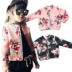 Girls Hipster Floral Fitted Zipper Jacket