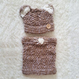2-Piece Wool Knit Cap and Scarf Set - Hand Knitted