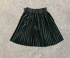 'Grace' Pleated Velvet Long Skirt