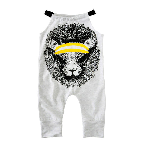 Baby/ Toddler Girl Sleeveless 'Workout Lion' Summer Jumpsuit