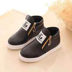 'Eurovix' Hi Top Leather Shoes [dual zip]