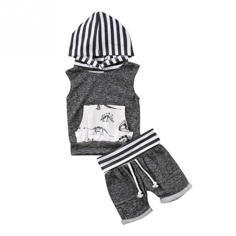 'Dyno-Striped' Sleeveless Hooded Set