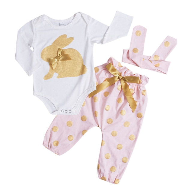 'Bunny Bow' Onesie + Pants + Bow Set