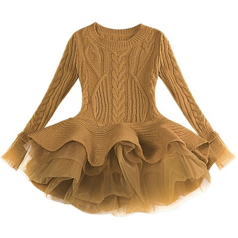 Knitted Warm Sweater Chiffon Dress [13 colors]
