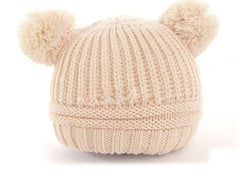 Dual Ball Knitted Baby Cap/Beanie