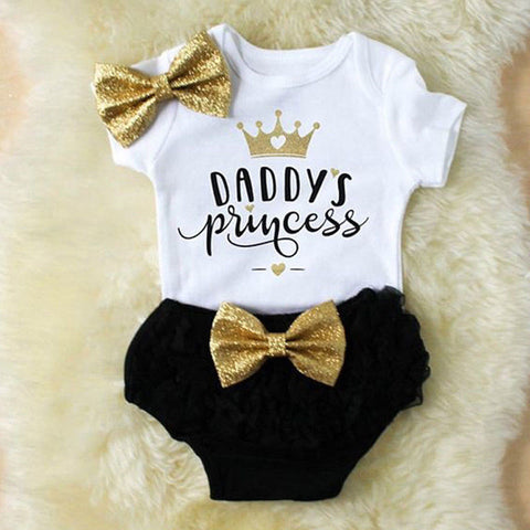 'Daddy's Princess' Onesie + Shorts + Bow Set