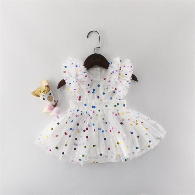 'Rainbow Dots' Tutu Romper Dress