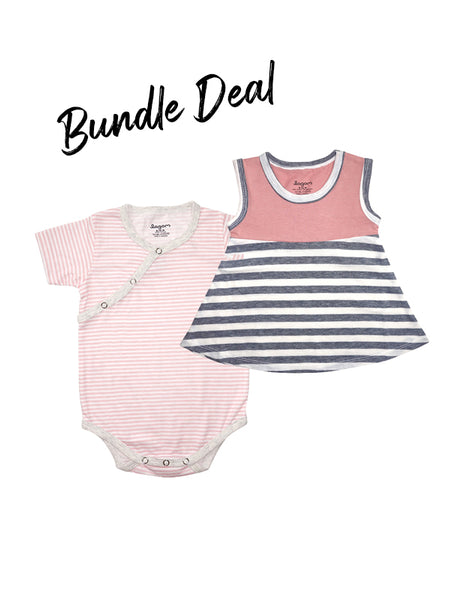 Bundle Deal Stripy Pink Kimono and Dress