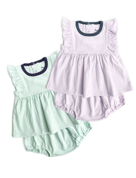 Super Soft Pastel Frill Sleeves Girl Dress Set