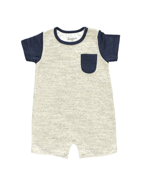 Blå Sektion Short-Sleeves Romper