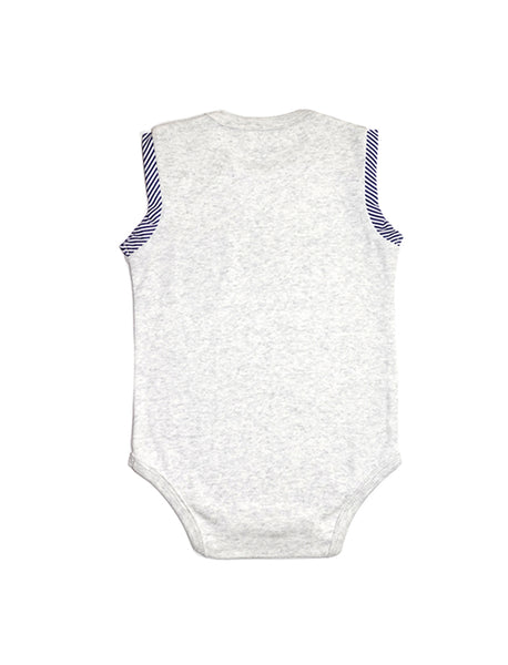 Stripy Beige and Navy Sleeveless Onesie