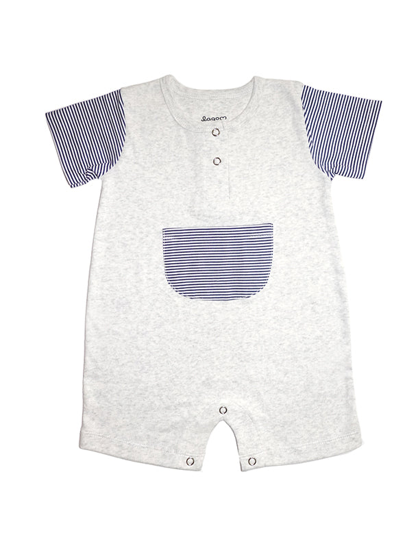 Stripy Beige and Navy Short Sleeves Pocket Romper