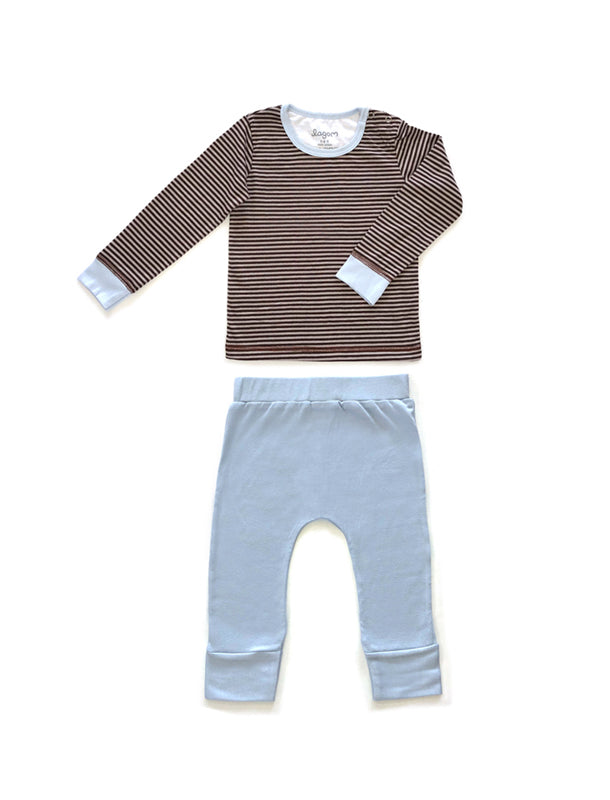 Brun Randigt Long Sleeve PJ Set