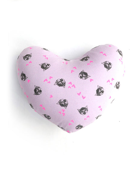 Comfy Cat Heart Shaped Pillow