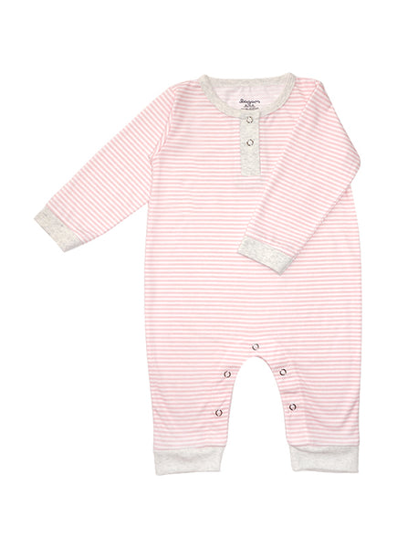 Stripy Pink Long Sleeves Jumpsuit