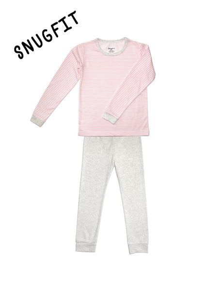 Stripy Pink and Beige Long Sleeves PJ Set