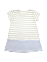 Stripy Blue Short-sleeves A-line Dress