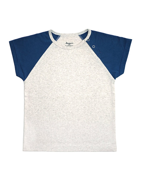 Stripy Blue and Grey Melange Short-sleeves Tee