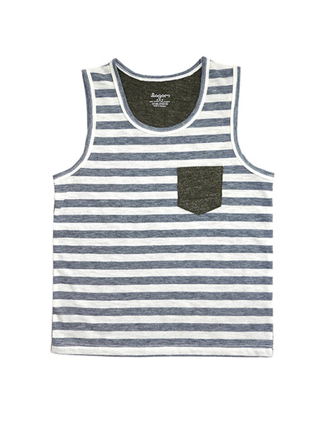 Stripy Grey and Olive Singlet
