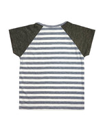 Stripy Grey and Olive Short-sleeves Tee