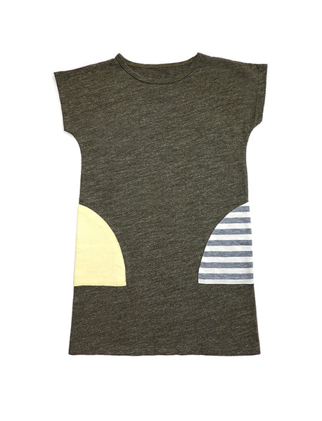 Stripy Olive Colourblock T-shirt Dress