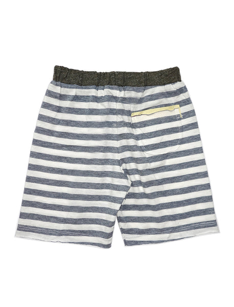 Stripy Grey Colour-block Shorts