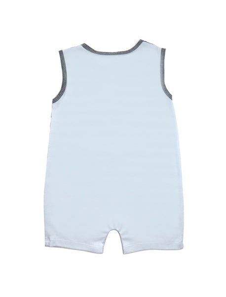 Stripy Grey & Blue Sleeveless Romper