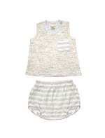 Stripy Skyblue Singlet & Bottom Baby Set